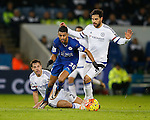 Riyad Mahrez of Leicester City skips past Branislav Ivanovic and Cesc Fabregas of Chelsea - English Premier League - Leicester City vs Chelsea - King Power Stadium - Leicester - England - 14th December 2015 - Picture Simon Bellis/Sportimage