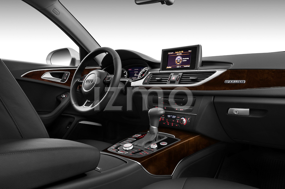 Passenger side dashboard view of a 2013 Audi A6 Allroad Quattro Wagon.
