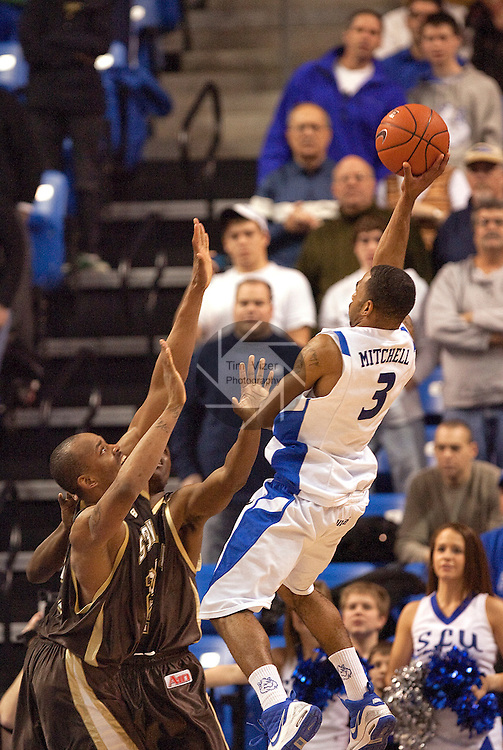 February 3,  2010         Saint Louis guard Kwamain Mitchell (3) makes the winning basket with two seconds left in the second period.  The game had been tied, 65-65 before his goal.  The St. Louis University Billikens hosted the St. Bonaventure Bonnies on Wednesday February 3, 2010 at Chaifetz Arena, near downtown St. Louis, Missouri.  The Billikens won, 67-65.