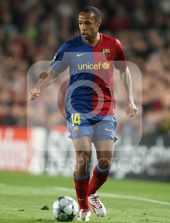 FC Barcelona's Thierry Henry during the UEFA Champions League match.April 28 2009. (ALTERPHOTOS/Acero).