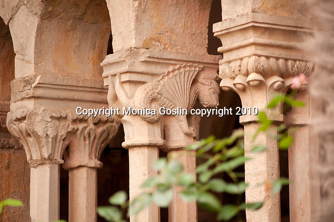 Detail of a column capital in the courtyard at the Franciscan Monastery and Museum in Dubrovnik, Croatia.