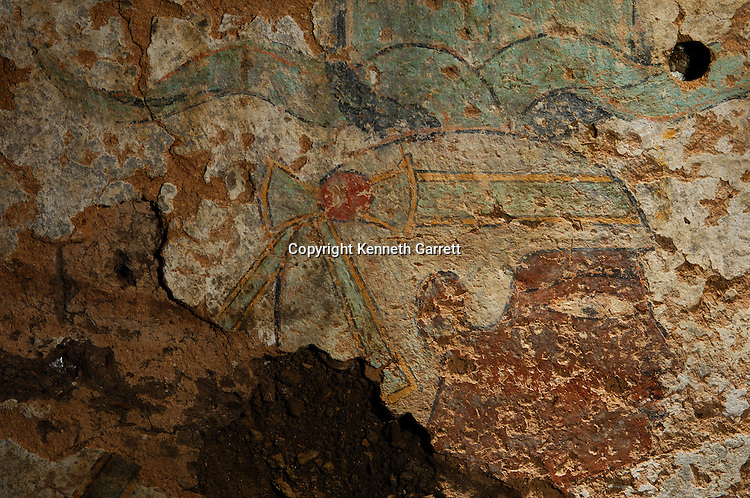 Qasr Ibrim wall mural, painted face of Taharka, found by Pamela Rose Black Pharaohs, Nubians, Egypt, Aswan