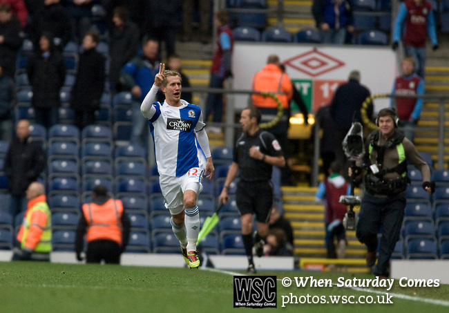 Blackburn Rovers midfielder Morten Gamst Pedersen celebrating scoring his team's first goal during the Barclays Premier League match against visitors Aston Villa at Ewood Park. Blackburn won the match by two goals to nil watched by a crowd of 21,848. It was Rovers' first match under the ownership of Indian company Venky's.