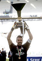 Calcio, Serie A: Juventus vs Crotone. Torino, Juventus Stadium, 21 maggio 2017.<br /> Juventus' goalkeeper Gianluigi Buffon holds the trophy during the celebrations for the victory of the sixth consecutive Scudetto at the end of the Italian Serie A football match between Juventus and Crotone at Turin's Juventus Stadium, 21 May 2017. Juventus defeated Crotone 3-0.<br /> UPDATE IMAGES PRESS/Isabella Bonotto