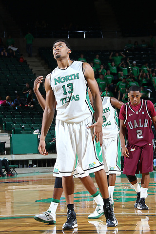 Denton, TX - JANUARY 26: Tony Mitchell #13 of the North Texas Mean Green at the free throw line as he reacts to a misses shot against the Arkansas Little Rock Trojans at the UNT Coliseum in Denton on January 26, 2013 in Denton, Texas. (Photo by Rick Yeatts)