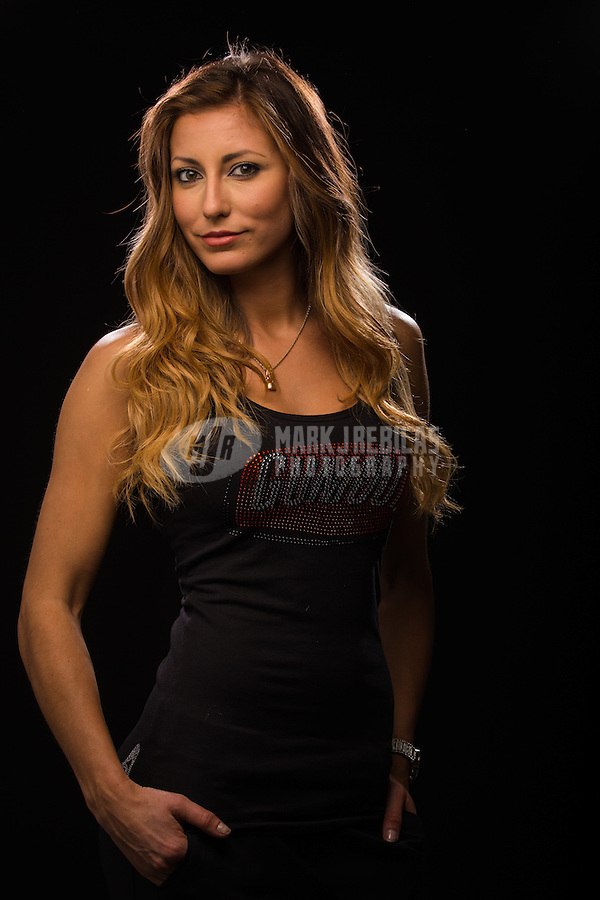 Jan 15, 2015; Jupiter, FL, USA; NHRA top fuel driver Leah Pritchett poses for a portrait during preseason testing at Palm Beach International Raceway. Mandatory Credit: Mark J. Rebilas-USA TODAY Sports