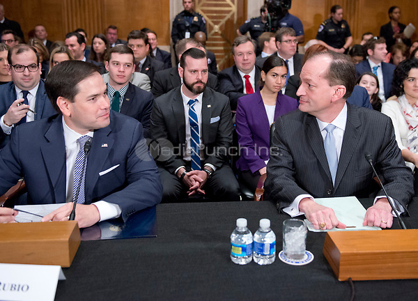United States Senator Marco Rubio (Republican of Florida), left, and R. Alexander Acosta, Dean of Florida International University College of Law and US President Donald J. Trump's nominee for US Secretary of Labor, right, at the witness table prior to Acosta's confirmation hearing before the US Senate Committee on Health, Education, Labor &amp; Pensions on Capitol Hill in Washington, DC on Wednesday, March 22, 2017.<br /> Credit: Ron Sachs / CNP /MediaPunch