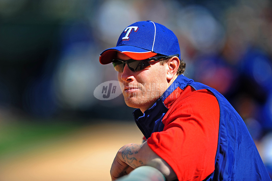 Mar. 10, 2010; Tempe, AZ, USA; Texas Rangers outfielder Josh Hamilton against the Seattle Mariners during a spring training game at Surprise Stadium. Mandatory Credit: Mark J. Rebilas-