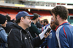 17 November 2007: Pat Noonan (r) is interviewed by MLS Magazine's Scott French (l). The New England Revolution practiced at RFK Stadium in Washington, DC one day before playing in MLS Cup 2007, Major League Soccer's championship game.