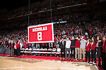 "Wisconsin Badgers raise a banner to honor the late Albert ""Ab"" Nicholas during halftime of an NCAA Big Ten Conference men's college basketball game against the Ohio State Buckeyes Thursday, January 12, 2017, in Madison, Wisconsin. The Badgers won 89-66. (Photo by David Stluka)"