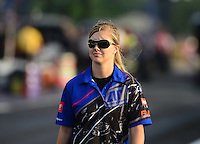 Apr. 27, 2012; Baytown, TX, USA: NHRA crew member for funny car driver Terry Haddock during qualifying for the Spring Nationals at Royal Purple Raceway. Mandatory Credit: Mark J. Rebilas-