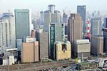 Buildings in city of Osaka, Japan.
