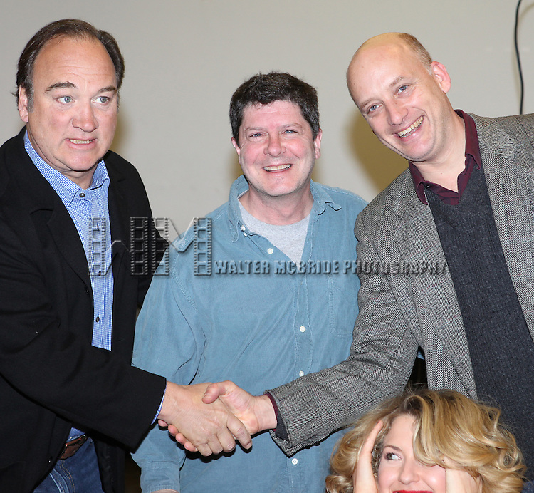 Jim Belushi & Michael McGrath & Nina Arianda & Robert Sean Leonard.attending the meet & greet for the upcoming Broadway Revival of 'Born Yesterday' at the Roundabout Rehearsal Studios in New York City.