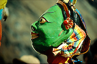.Masked dancer at the Mane Rimdu festival, Thyangboche Monastery, Khumbu (Everest) region, Nepal Himalaya..