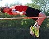 Joe Neunzig of Connetquot clears the bar at five feet, four inches to win the high jump event in a Suffolk County boys' track and field meet against Middle Country at Connetquot High School on Thursday, May 14, 2015.<br /> <br /> James Escher