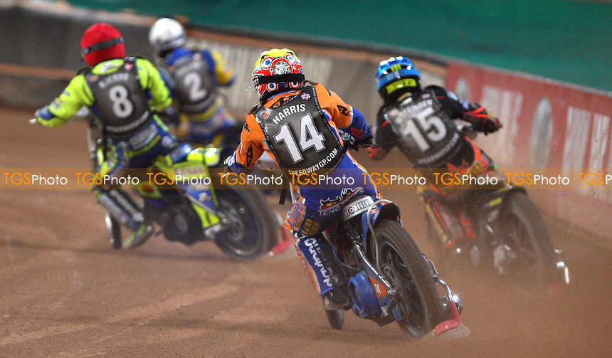 Heat 16: Tomasz Gollob (white), Kenneth Bjerre (red), Tai Woffinden (blue) and Chris Harris (yellow) - British Speedway Grand Prix at the Millennium Stadium, Cardiff - 10/07/10 - MANDATORY CREDIT: Rob Newell/TGSPHOTO - Self billing applies where appropriate - 0845 094 6026 - contact@tgsphoto.co.uk - NO UNPAID USE.