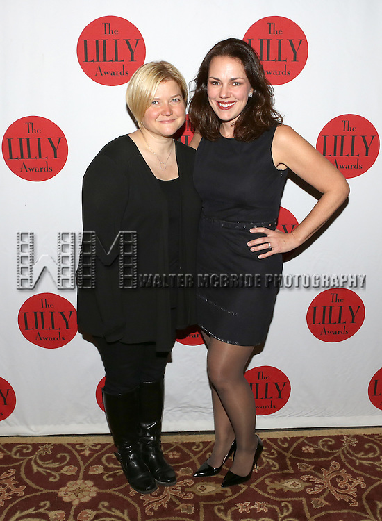 Mary Mitchell Campbell and Georgia Stitt backstage at The Lilly Awards Broadway Cabaret'   at The Cutting Room on November 9, 2015 in New York City.