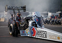 Aug 18, 2017; Brainerd, MN, USA; NHRA top fuel driver Antron Brown during qualifying for the Lucas Oil Nationals at Brainerd International Raceway. Mandatory Credit: Mark J. Rebilas-USA TODAY Sports