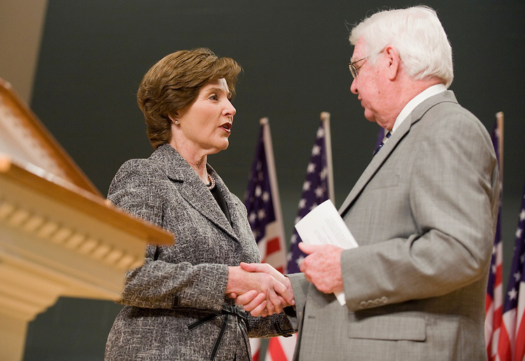 Rep. Hal Rogers, R-Ky., greets former First Lady Laura Bush after introducing her at an event at Somerset Christian School, also attended by senate candidate Trey Grayson (R) in Somerset, Ky., April 16, 2010.