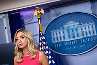 White House Press Secretary Kayleigh McEnany speaks during a news conference in the James S. Brady Press Briefing Room at the White House in Washington D.C., U.S., on Monday, June 8, 2020.  McEnany stated that United States President Donald J. Trump is against defunding police departments, after the death of George Floyd while in police custody has pushed cities across the United States to consider doing so.  Credit: Stefani Reynolds / CNP/AdMedia