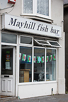 STORY BY STEVEN MORRIS SWANSEA, UK. 5th July 2015. Exterior of Mayhill Fish Bar.