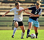 17 September 2009: University of Vermont Catamounts' midfielder Caitlin McGowan (13), a Junior from Rye, NY works for ball control over Colleen Dowd (2) during a game against the Rhode Island Rams at Centennial Field in Burlington, Vermont. The Catamounts fell 2-1 to the visiting Rams. Mandatory Photo Credit: Ed Wolfstein Photo