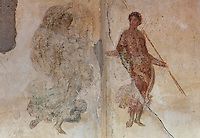 Fresco detail of a couple with spears, possibly from a hunting scene, in the Triclinium, probably used for lunches, a large room open to the garden, with walls painted on a white background with figures and plants and ornamental borders and floating figures of the seasons, in the Casa dell Efebo, or House of the Ephebus, Pompeii, Italy. This room is decorated in the Fourth Style of Roman wall painting, 60-79 AD, a complex narrative style. This is a large, sumptuously decorated house probably owned by a rich family, and named after the statue of the Ephebus found here. Pompeii is a Roman town which was destroyed and buried under 4-6 m of volcanic ash in the eruption of Mount Vesuvius in 79 AD. Buildings and artefacts were preserved in the ash and have been excavated and restored. Pompeii is listed as a UNESCO World Heritage Site. Picture by Manuel Cohen
