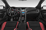 Stock photo of straight dashboard view of 2015 Hyundai I30 Turbo 3 Door Hatchback