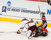 Megan Keller (BC - 4), Kasidy Anderson (NU - 37) - The Boston College Eagles defeated the Northeastern University Huskies 5-1 (EN) in their NCAA Quarterfinal on Saturday, March 12, 2016, at Kelley Rink in Conte Forum in Boston, Massachusetts.