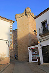 Historic tower and walls of medieval old town, Caceres, Extremadura, Spain