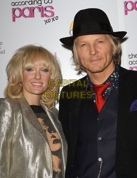 "ACE HARPER & MATT SORUM .""The World According To Paris"" Series Premiere Party  Held At The Roosevelt Hotel, Hollywood, California, USA, .17th May 2011..half length couple silver jacket black hat     red tie gold .CAP/ADM/KB.©Kevan Brooks/AdMedia/Capital Pictures."
