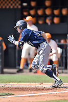 UC Irvine Anteaters second baseman Cole Kreuter (17) runs to first during game one of a double header against the Tennessee Volunteers at Lindsey Nelson Stadium on March 12, 2016 in Knoxville, Tennessee. The Volunteers defeated the Anteaters 14-4. (Tony Farlow/Four Seam Images)