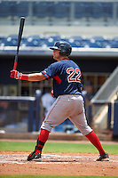 GCL Red Sox catcher Devon Fisher (22) at bat during the second game of a doubleheader against the GCL Rays on August 4, 2015 at Charlotte Sports Park in Port Charlotte, Florida.  GCL Red Sox defeated the GCL Rays 2-1.  (Mike Janes/Four Seam Images)