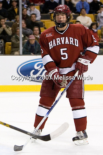 Jack Christian (Harvard University - Wilton, CT) - The Boston College Eagles defeated the Harvard University Crimson 3-1 in the first round of the 2007 Beanpot Tournament on Monday, February 5, 2007, at the TD Banknorth Garden in Boston, Massachusetts.  The first Beanpot Tournament was played in December 1952 with the scheduling moved to the first two Mondays of February in its sixth year.  The tournament is played between Boston College, Boston University, Harvard University and Northeastern University with the first round matchups alternating each year.