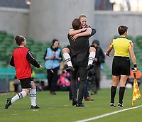 3rd November 2019; Aviva Stadium, Dublin, Leinster, Ireland; FAI Cup Womens Final Football, Peamount United versus Wexford Youth Womens Football Club; Wexford Youths goalscorer Lauren Kelly celebrates with manager Tom Elmes - Editorial Use