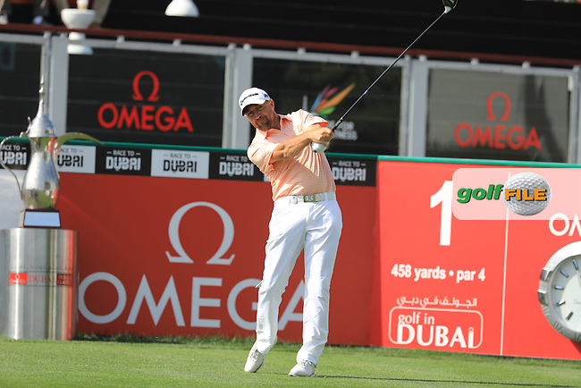 Darren Fichardt (RSA) on the 1st during the final round of the Omega Dubai Desert Classic, Emirates Golf Club, Dubai,  United Arab Emirates. 05/02/2017<br /> Picture: Golffile | Fran Caffrey<br /> <br /> <br /> All photo usage must carry mandatory copyright credit (&copy; Golffile | Fran Caffrey)