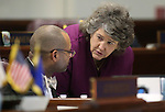 Nevada Senate Minority Leader Aaron Ford, D-Las Vegas, and Legislative Counsel Brenda Erdoes talk on the Senate floor during a special session at the Nevada Legislature in Carson City, Nev. on Tuesday, Oct. 11, 2016. <br />