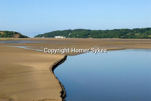 River Dwyryd Estuary. Gwynedd North Wales UK. Portmerion in distance.
