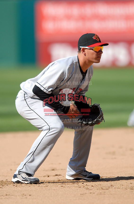 INF Danny Valencia (# 22) of the Rochester Red Wings, the AAA International League affiliate of the Minnesota Twins, at McCoy Stadium in Pawtucket, RI  (Photo by Ken Babbitt/Four Seam Images)