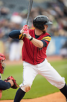 Toledo Mud Hens catcher Bryan Holaday (6) at bat against the Lehigh Valley IronPigs during the International League baseball game on April 30, 2017 at Fifth Third Field in Toledo, Ohio. Toledo defeated Lehigh Valley 6-4. (Andrew Woolley/Four Seam Images)