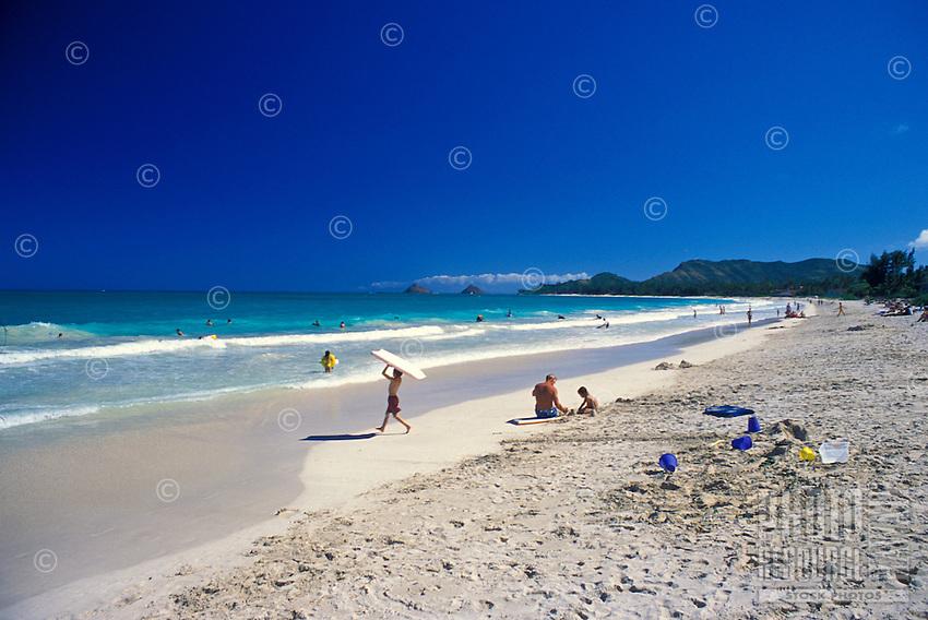 Kapalama Beach Park in Kailua offers beautiful white sands and warm blue waters.  Located south of Kailua Beach Park.  Windward oahu.