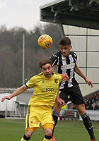 Kyle Magennis beating Scott Pittman in the air in the St Mirren v Livingston Scottish Professional Football League Ladbrokes Championship match played at the Paisley 2021 Stadium, Paisley on 14.4.18.