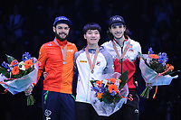 SHORT TRACK: ROTTERDAM: Ahoy, 12-03-2017, KPN ISU World Short Track Championships 2017, Podium Overall Classification Men, Sjinkie Knegt (NED), Yi Ra Seo (KOR), Samuel Girard (CAN), ©photo Martin de Jong