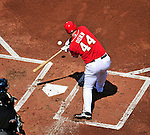 23 August 2009: Washington Nationals' first baseman Adam Dunn at bat against the Milwaukee Brewers at Nationals Park in Washington, DC. The Nationals defeated the Brewers 8-3 to take the third game of their four-game series, snapping a five games losing streak. Mandatory Credit: Ed Wolfstein Photo