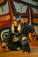 Rahsaan Gregg, Chilkat Dancers' Storytelling Theater Show, Haines, Alaska. Bringing ancient legends to the stage in pantomime expression using carved masks and traditional costumes.