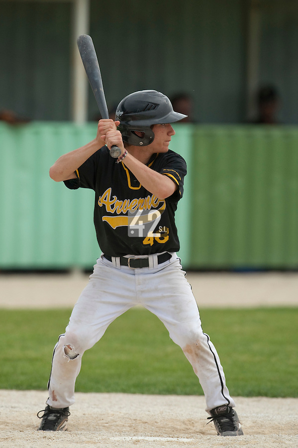 21 May 2009: Quentin Gelineau of Clermont-Ferrand is seen at bat during the 2009 challenge de France, a tournament with the best French baseball teams - all eight elite league clubs - to determine a spot in the European Cup next year, at Montpellier, France.