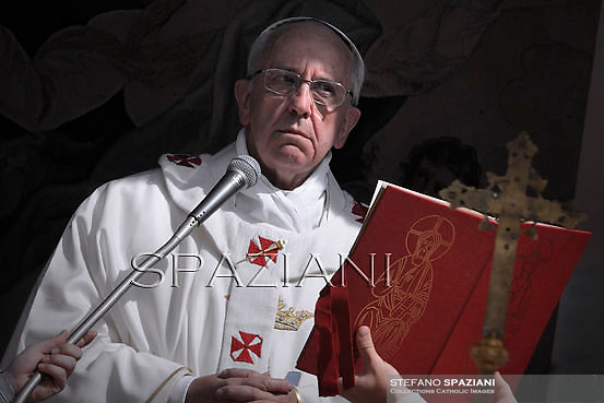 Pope Francis celebrates the Assumption Day mass in the Castelgandolfo's central square on August 15, 2013.