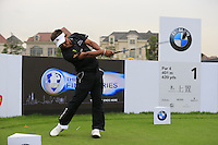 Thongchai Jaidee (THA) tees off the 1st tee during Wednesday's Pro-Am Day of the 2014 BMW Masters held at Lake Malaren, Shanghai, China 29th October 2014.<br /> Picture: Eoin Clarke www.golffile.ie