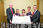 Sabrina O'Brien (organiser), Noelle O'Shea (organiser) who organised a pajamas charity walk recently held a gala dinner dance in the Abbey Gate hotel, Tralee on Saturday last and together with monies raised on the night handed over a cheque for ?11,124 to the Children's Leukaemia Association, pictured l-r: Pat Ahern (CLA), Sabrina O'Brien, Rosarie O'Donovan (chairperson, CLA), Noelle O'Shea and John Deasy (CLA).