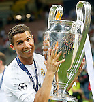 Real Madrid's Cristiano Ronaldo celebrates the victory in the UEFA Champions League 2015/2016 Final match.May 28,2016. (ALTERPHOTOS/Acero)
